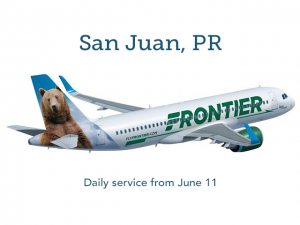 Fly Frontier to San Juan from June 11