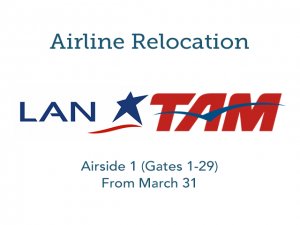LATAM relocates to Airside 1 (Gates 1-29) effective March 31